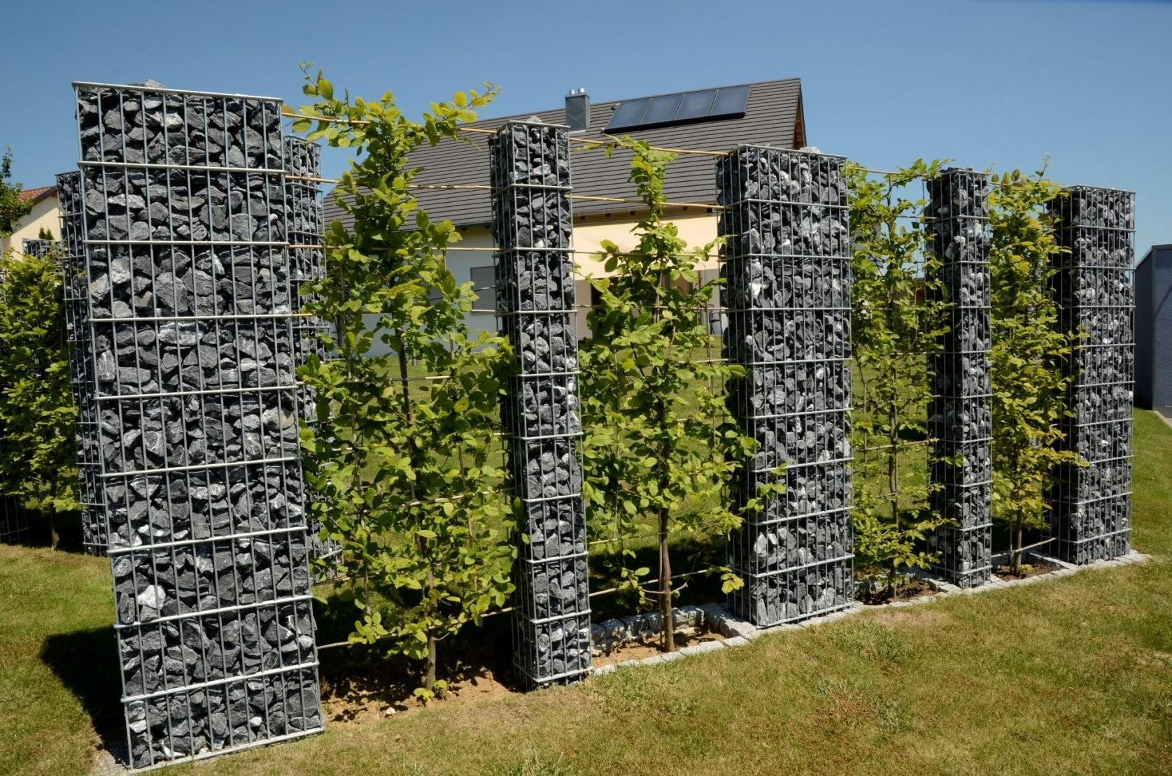 Zaunteam Sichtschutz Gabionen Steinsäulen  Sichtschutzzäune von Steinsäulen Für Den Garten Bild