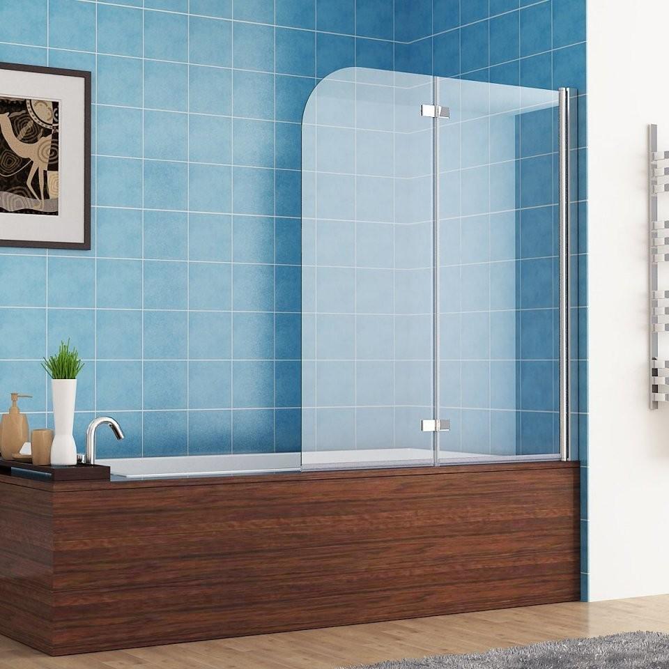 110 X 140 Cm Badewannen 2 Tlg Faltwand Aufsatz 180° Duschwand von Duschwand Glas Für Badewanne Bild