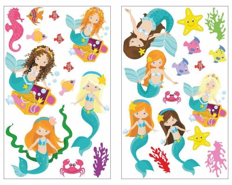 28Teiliges Meerjungfrau Und Tiere Wandtattoo Set H2O Mädchen Jungen von Wandtattoo Kinderzimmer Junge Tiere Bild