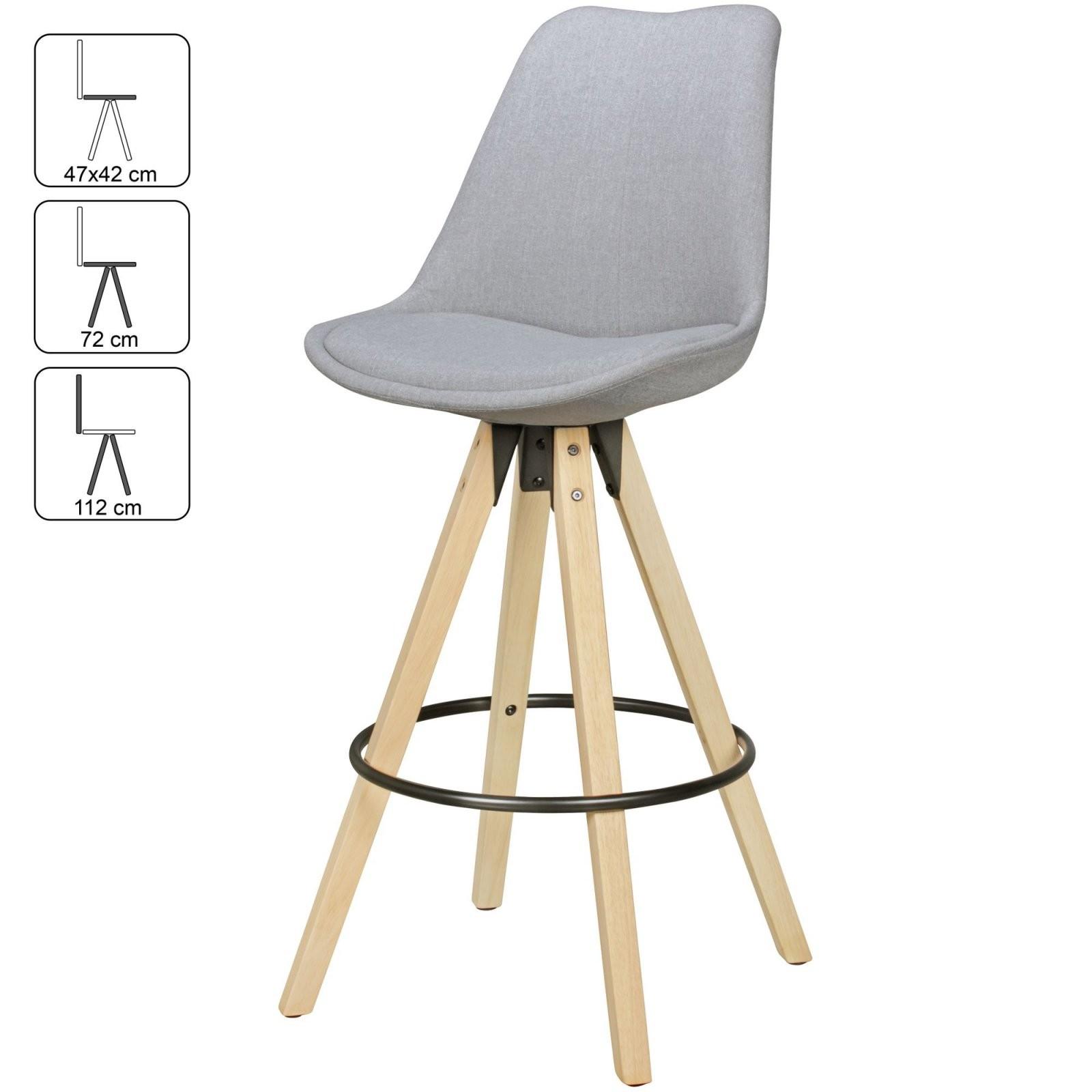 2Er Set Barhocker Retro Design Stoff Holz Mit Lehne Barstühle von Barhocker Grau Mit Lehne Photo