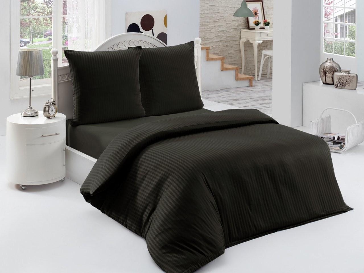 3 Tlg Makosatin Damast Bettwäsche Bettgarnitur 200X200 Cm Stripe von Bettwäsche 200X200 Schwarz Weiß Photo