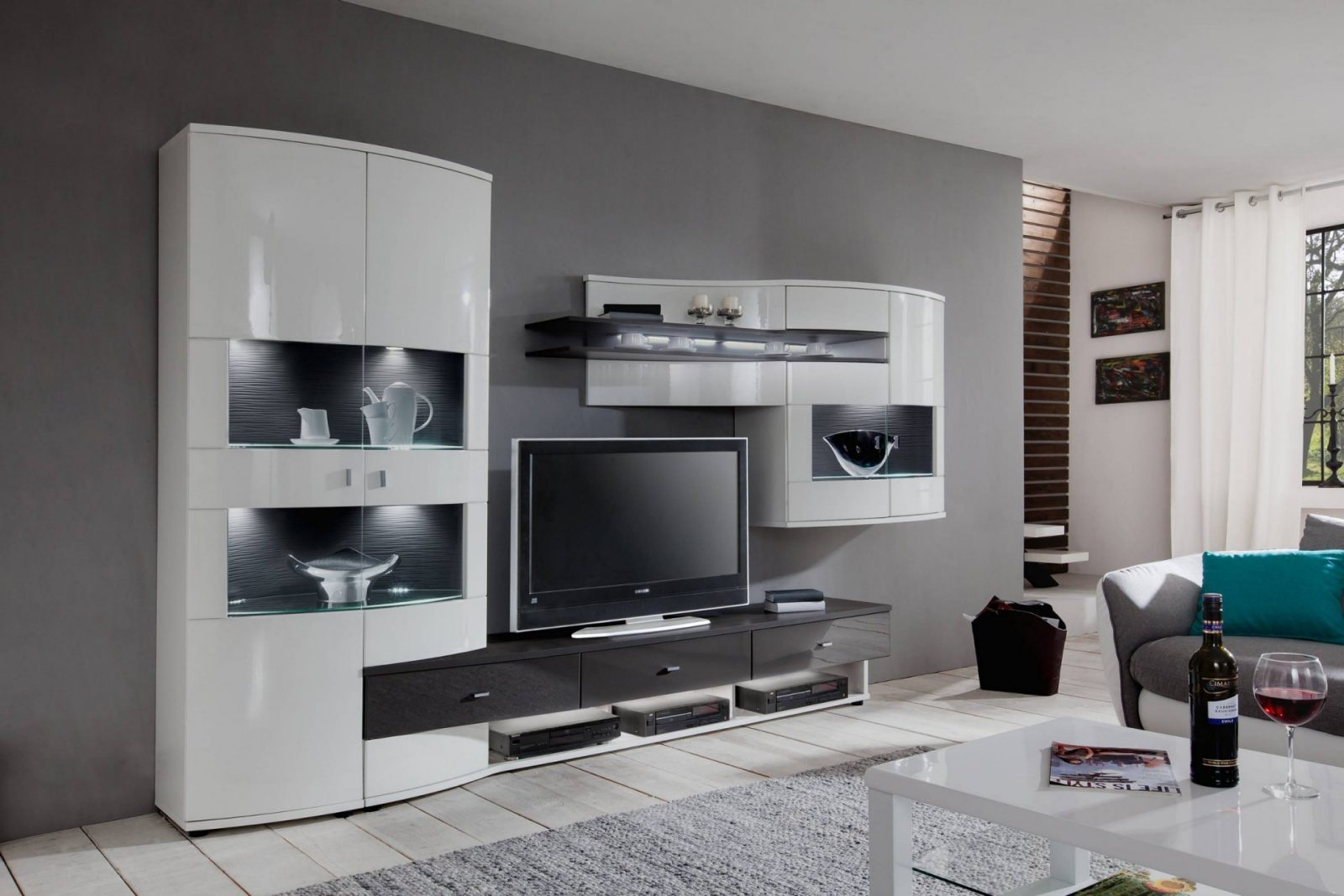 35 Moderne Wohnwand Weis Hochglanz Ikea  Ahhadesigns von Ikea Wohnwand Weiß Hochglanz Bild