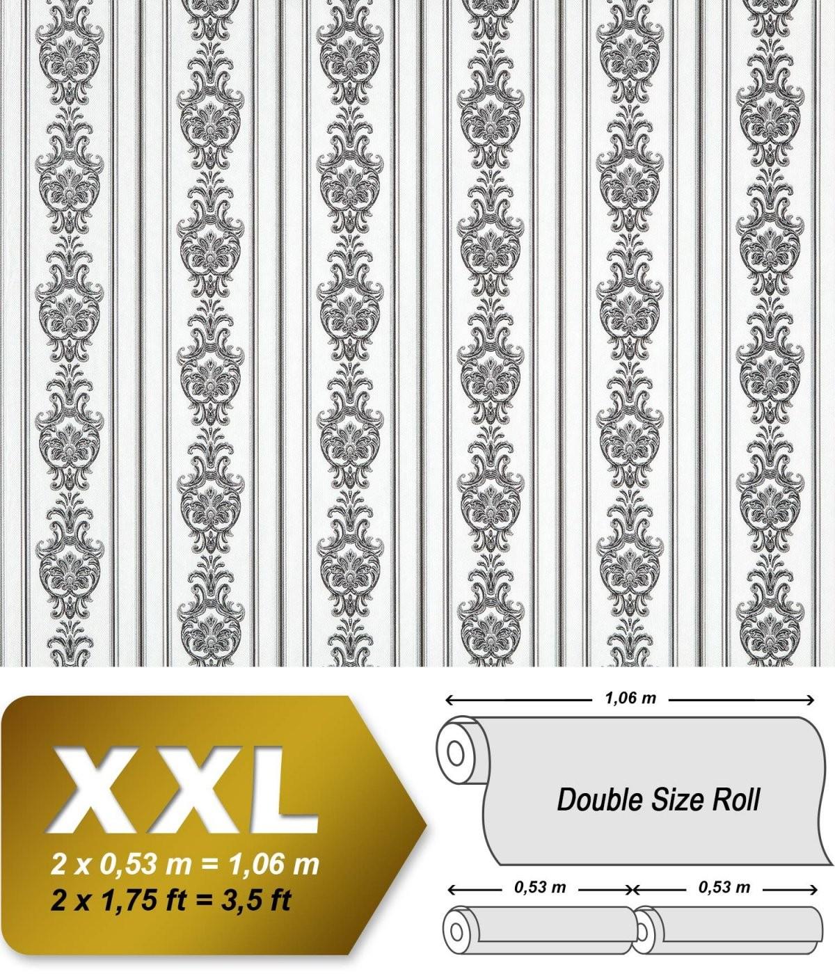 3D Barock Tapete Streifen Xxl Vliestapete Edem 66090 Elegantes von Barock Tapete Schwarz Weiß Bild