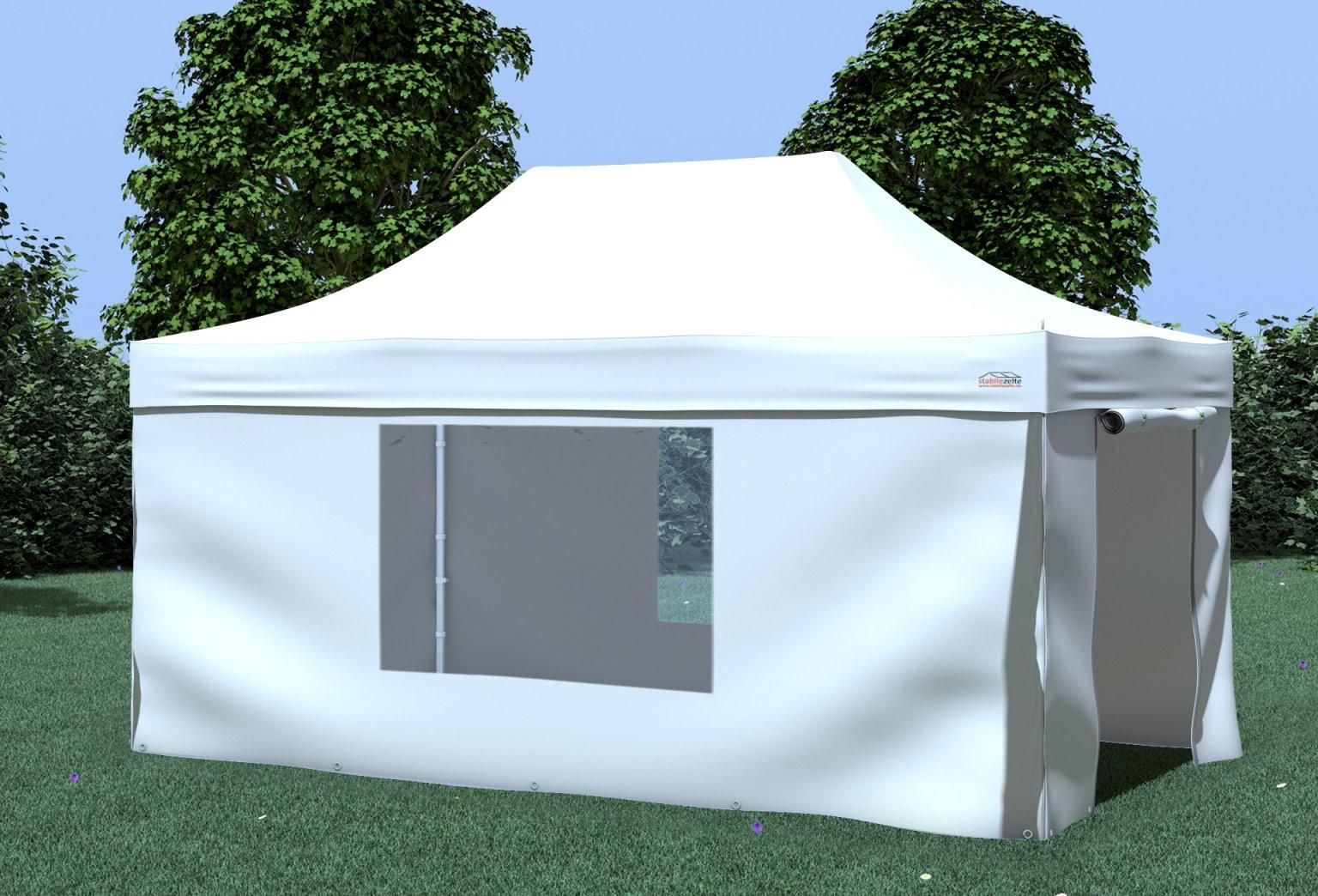 3X45 M Faltpavillon Prof+ Polyester 330 Gm² Weiß Inkl von Faltpavillon 3X4 5 Wasserdicht Bild