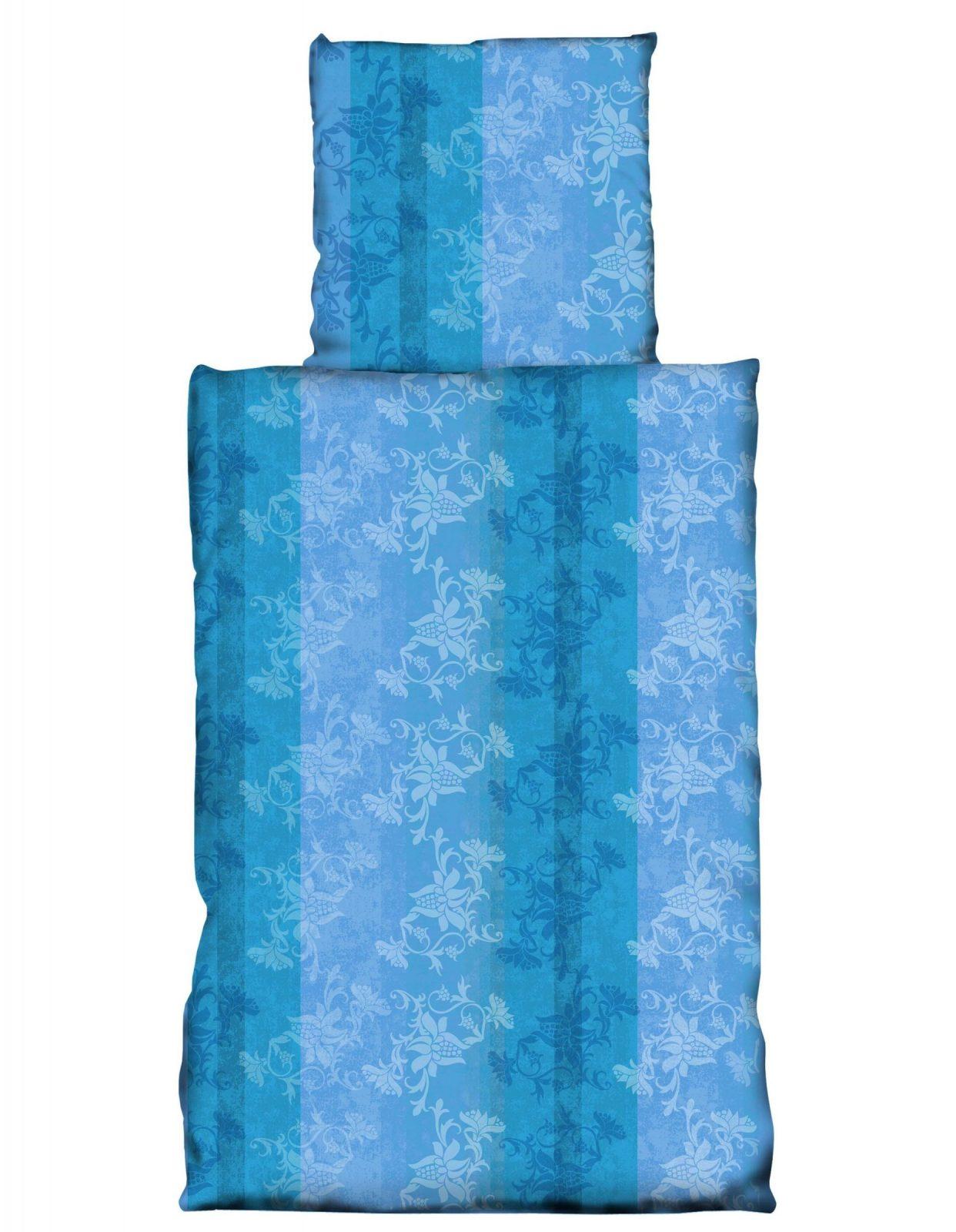 4 Teilig Bettwäsche 155X220 Cm Blumen Türkis Dunkel Blau Microfaser von Bettwäsche 155X220 4 Teilig Bild