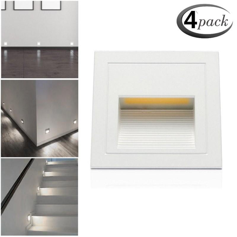 4 X 3W Led Wandeinbauleuchte Treppenlicht Stufenlicht Mit von Flur Und Treppenbeleuchtung Mit Bewegungsmelder Bild