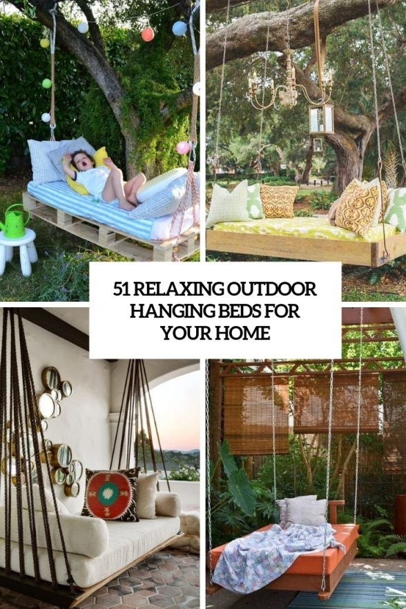 51 Relaxing Outdoor Hanging Beds For Your Home  Digsdigs von Round Porch Swing Bed Photo