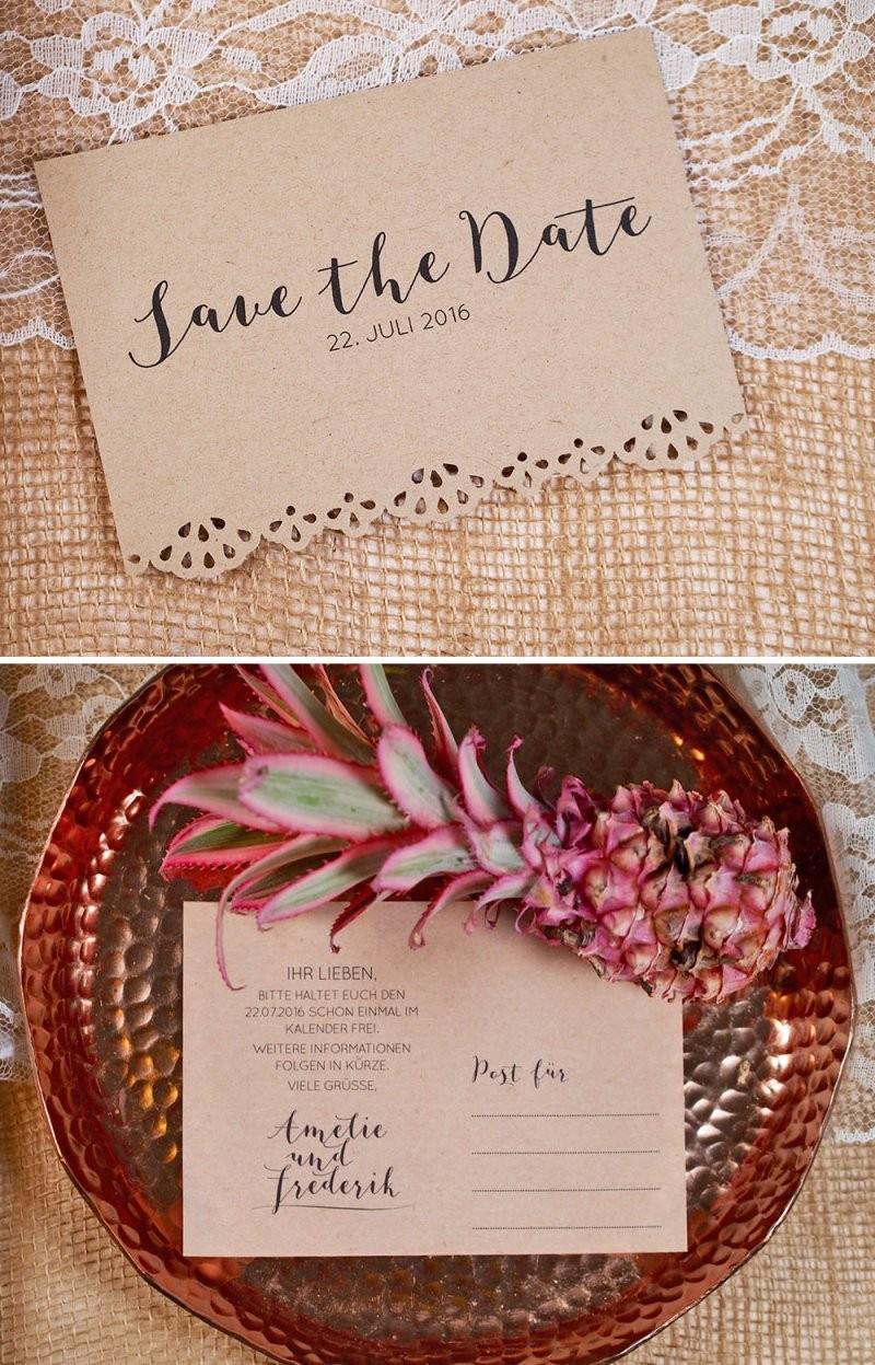 7 Einfache Diy Save The Date Ideen  Hochzeitsblog The Little von Save The Date Karten Basteln Bild