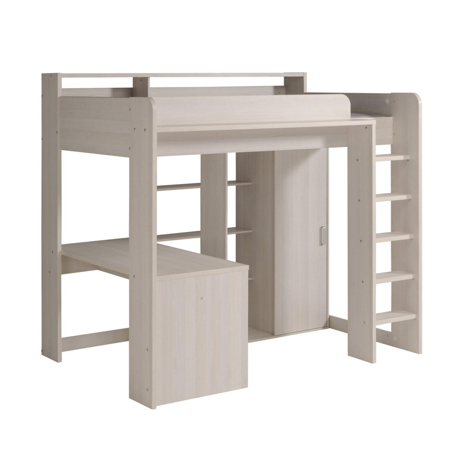 90X200 Hochbett Inkl Integrierter Schreibtisch U Schrank Higher 1B von Schrank Mit Integriertem Schreibtisch Bild