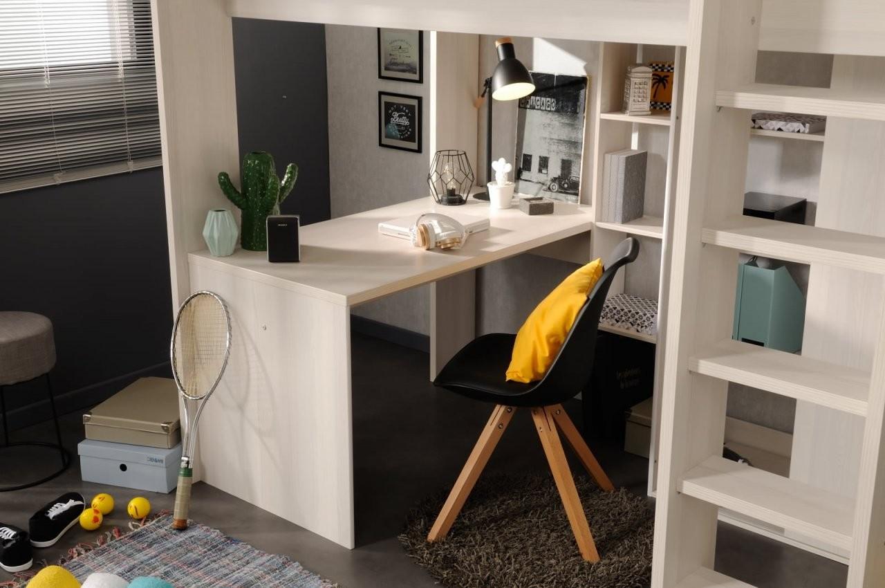 90X200 Hochbett Inkl Integrierter Schreibtisch U Schrank Higher 1B von Schrank Mit Integriertem Schreibtisch Photo