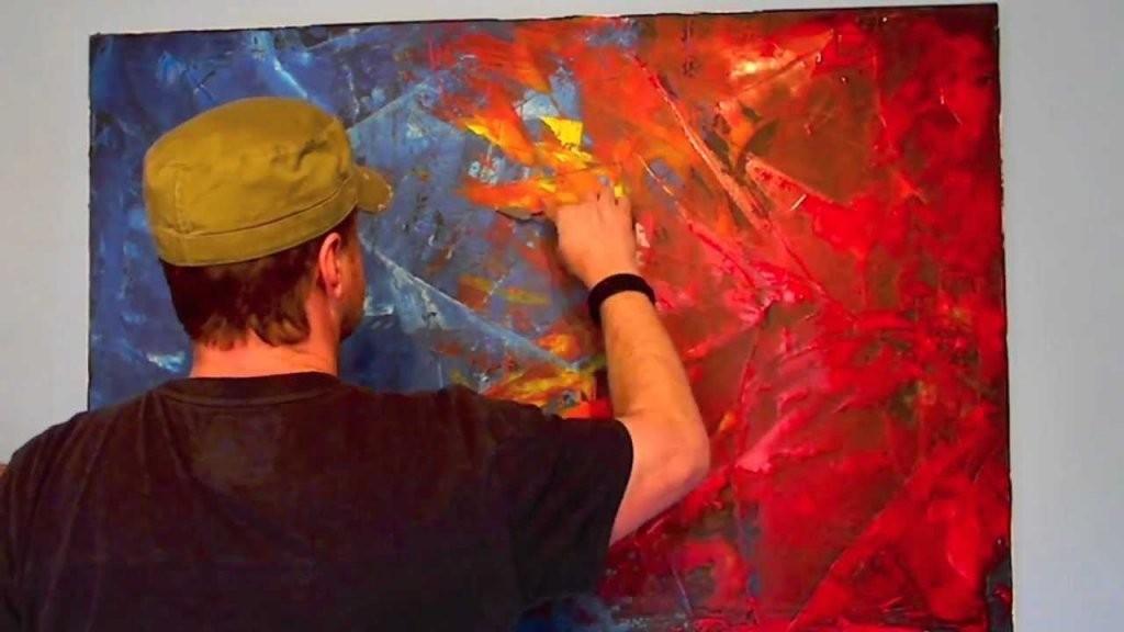 Acrylmalerei Spachteltechnik Abstrakt  Youtube von Abstrakte Acrylbilder Selber Malen Bild