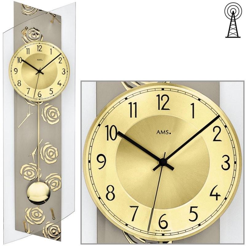 Ams 5223 Funk Pendel Uhr Glas Rosen Gold 24X84M von Funk Wanduhren Mit Pendel Bild