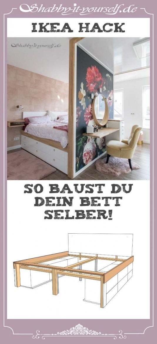 Anleitung Zu Meinem Schlafzimmerkonzept Mit Diy Bett Und Raumteiler von Bett Selber Bauen Ikea Bild