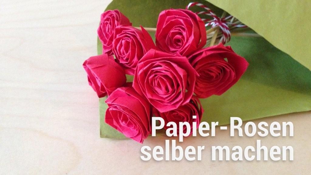 Anleitung Zum Falten Von Papierrosen  Youtube von Rose Basteln Papier Anleitung Photo