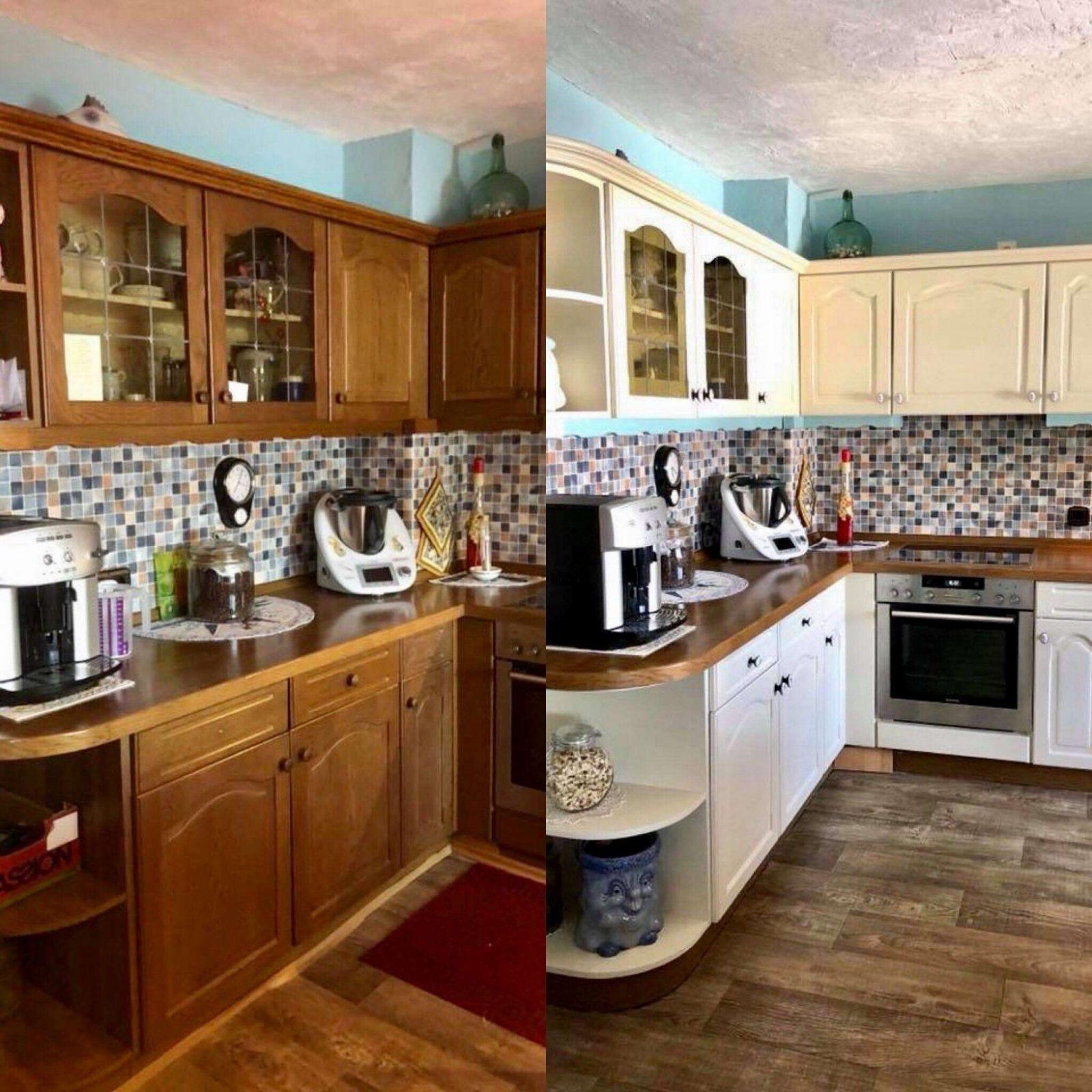 Anleitung Zum Küche Streichen Mit Kreidefarbe Von von Küchenmöbel Streichen Vorher Nachher Bild