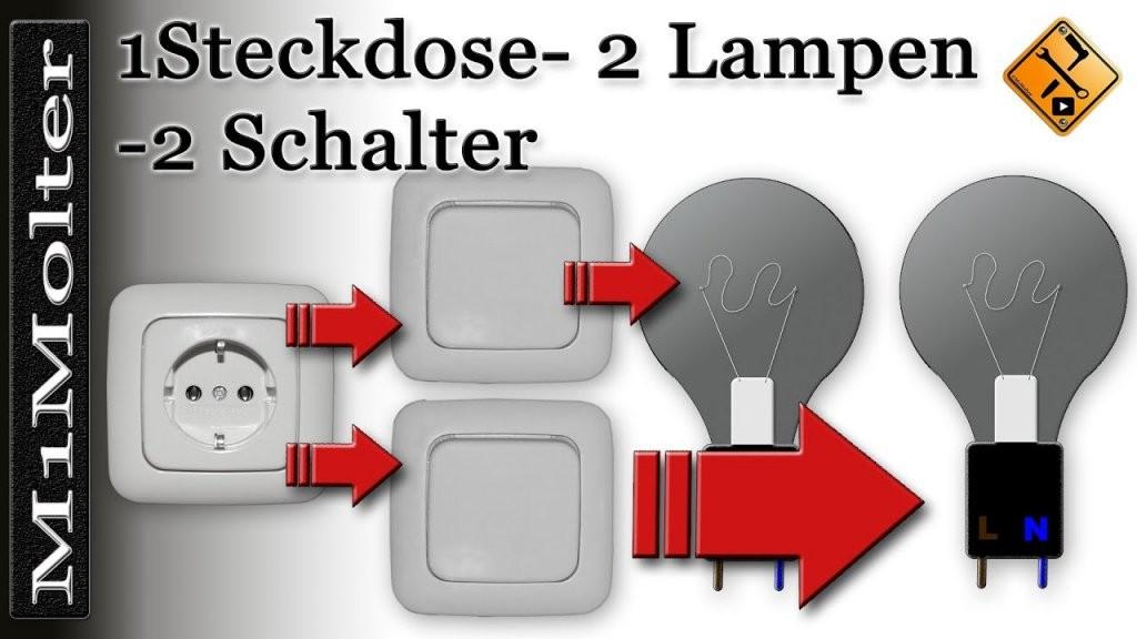 Anschluss  Steckdose U 2 Lampen + 2 Schalter Am Schaubild Von von Steckdose An Lichtschalter Anklemmen Bild