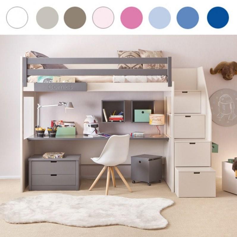 Asoral Hochbett Loft Xl Liso Mit Treppe Schreibtisch 4 Stauraum von Etagenbett Mit Stauraum Treppen Bild