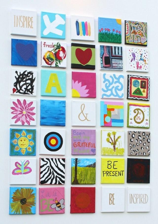 Auf Leinwand Malen  37 Originelle  Einfache Ideen Mit Anleitung von Leinwandbilder Selber Malen Vorlagen Bild