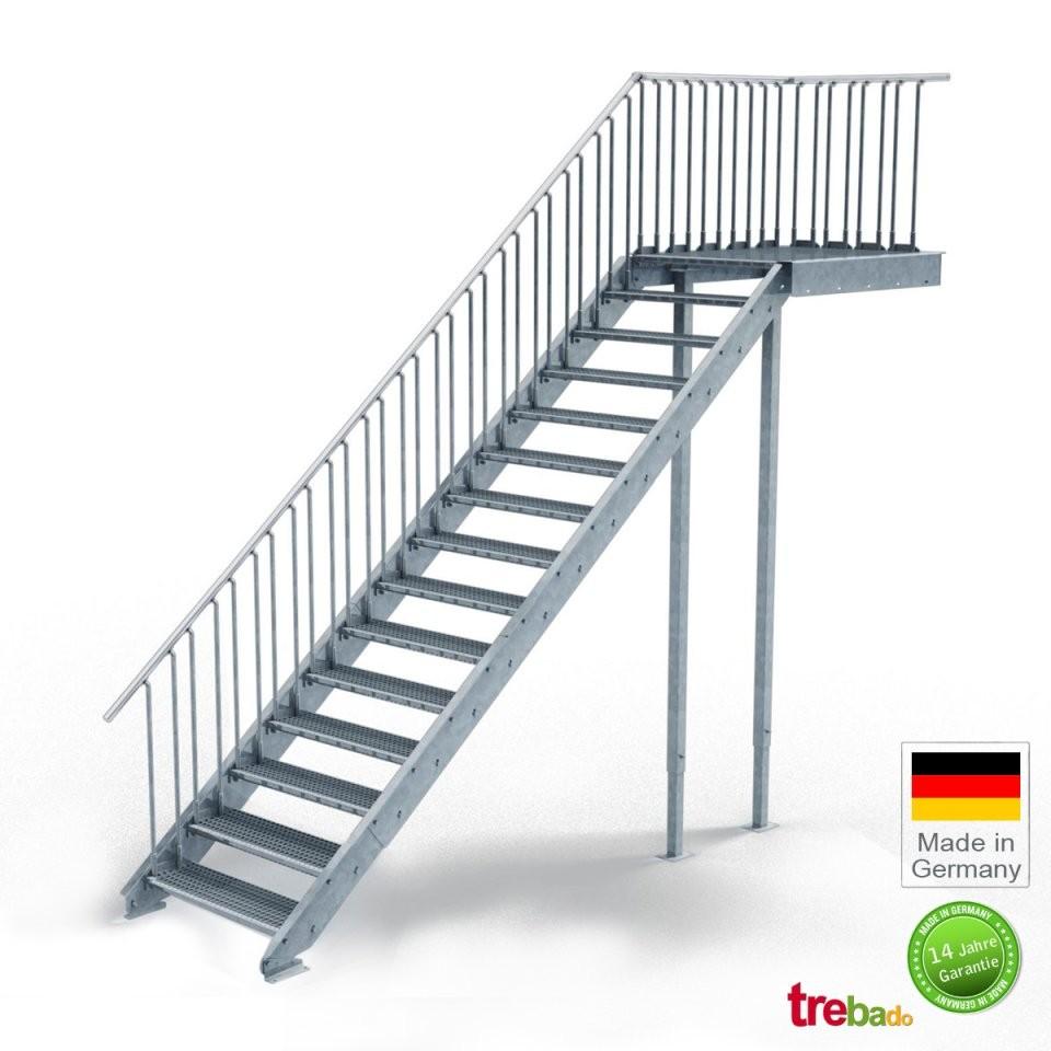 Außentreppe Gerade 15 Steigungen Laufweite 100 Cm  Treppen von Außentreppe Mit Podest Berechnen Photo