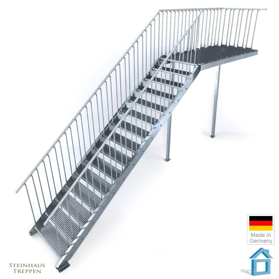 Außentreppe Stahl Mit 16 Steigungen 100 Cm Breite Und Podest 162 Cm von Außentreppe Mit Podest Berechnen Bild