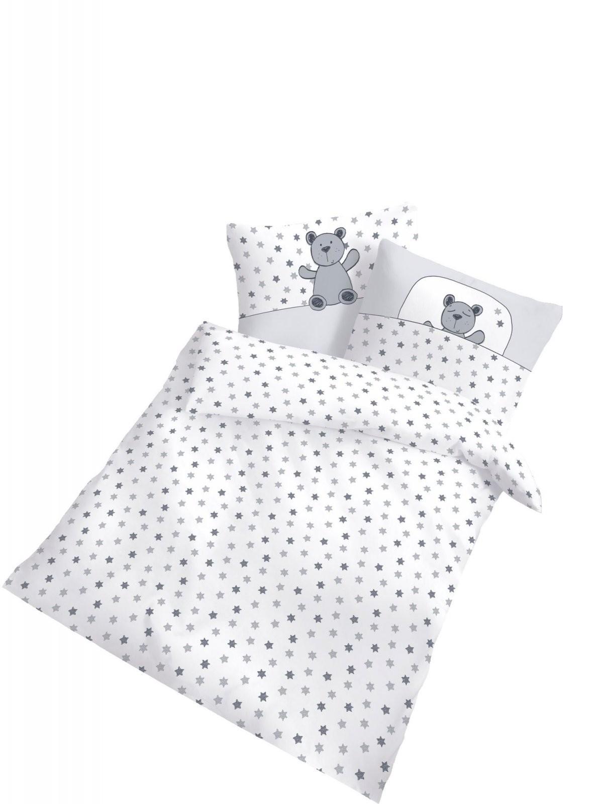 Baby Bettwäsche Teddy Und Sterne 2 Tlg 100X135 Cm (40X60 Cm) Silber von Bettwäsche 100X135 Sterne Photo