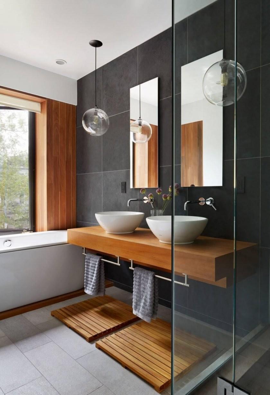 Bad  Grau  Holz  Modern  Bad  Badezimmer Badezimmerideen Und von Moderne Bäder Mit Holz Photo