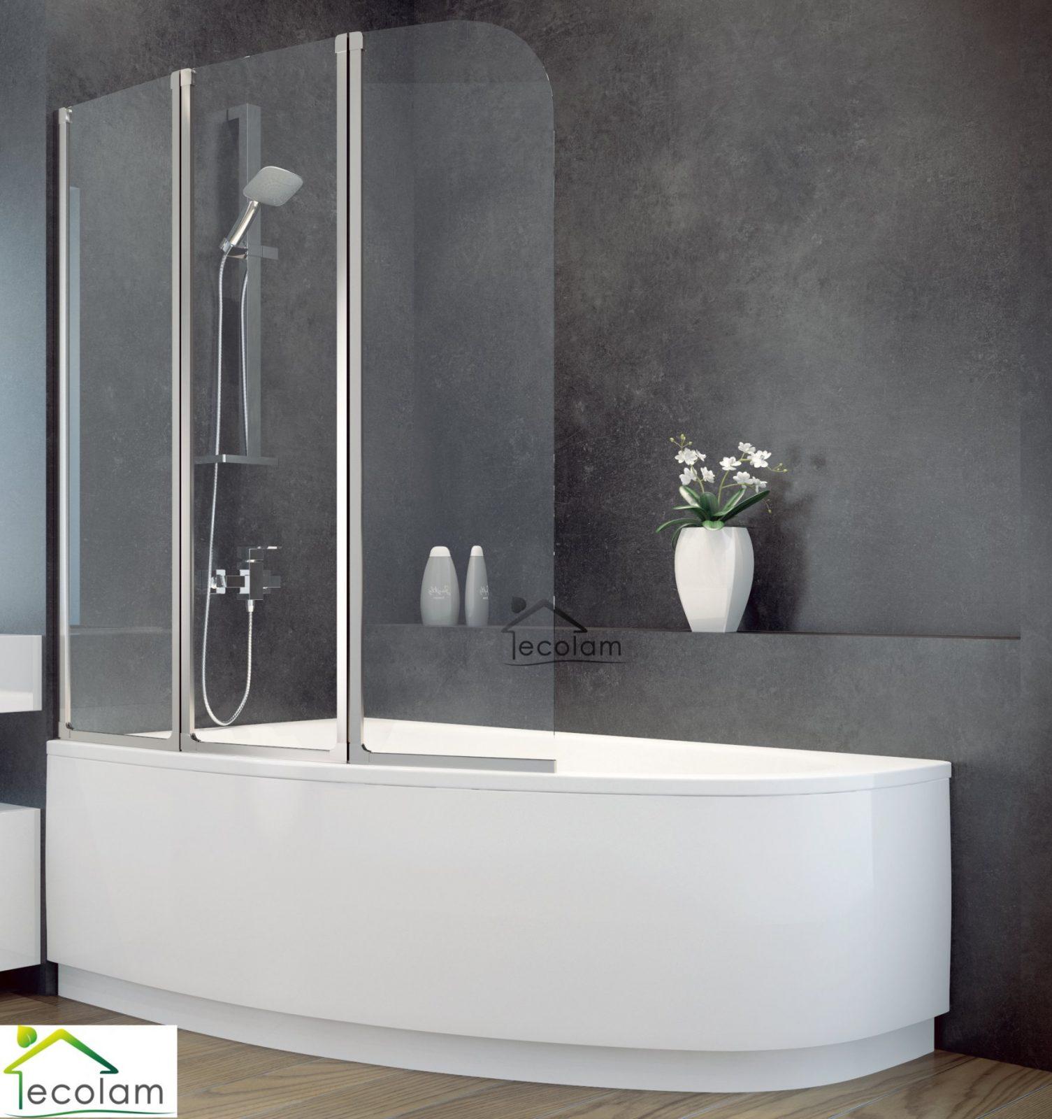 Badewanne + Badewannenabtrennung Duschwand Glas Eckwanne 150 X 100 von Duschwand Glas Für Badewanne Photo