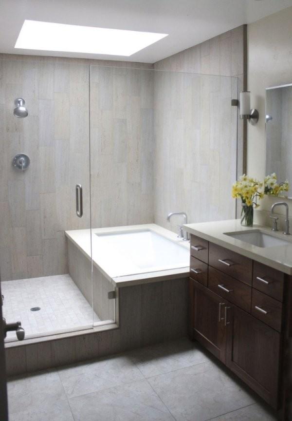 Badewanne Einmauern Mit Ablage  35 Ideen Und Anleitung von Badewanne In Holz Einfassen Bild