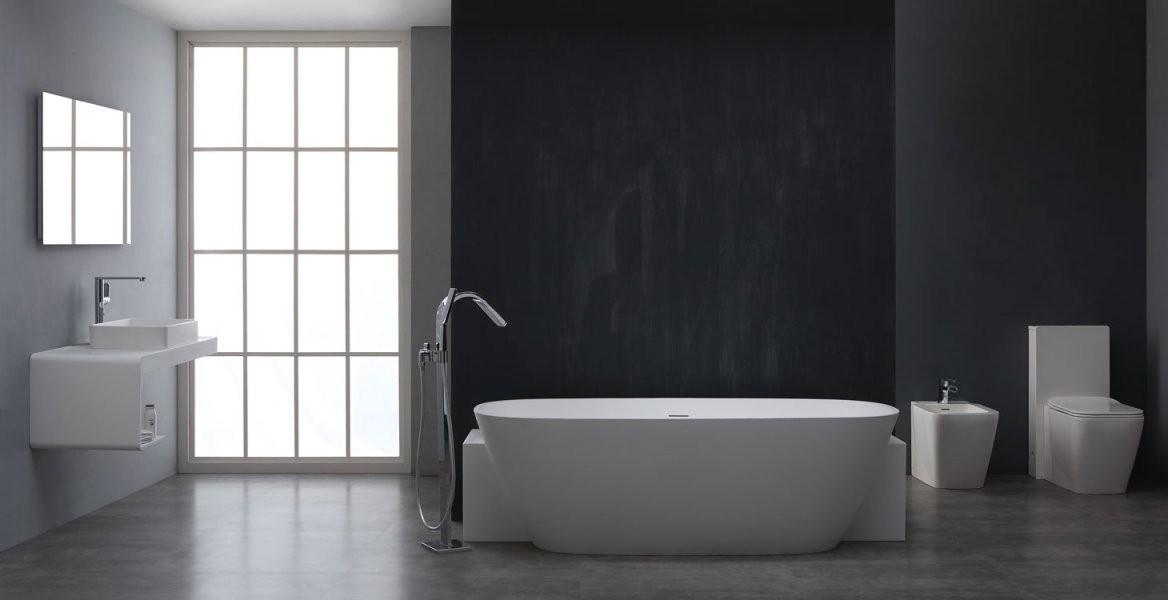 Badewanne Freistehend Stoneart Bs529 Weiß 185X81 Glänzend Online von Freistehende Badewanne Mineralguss Oder Acryl Bild