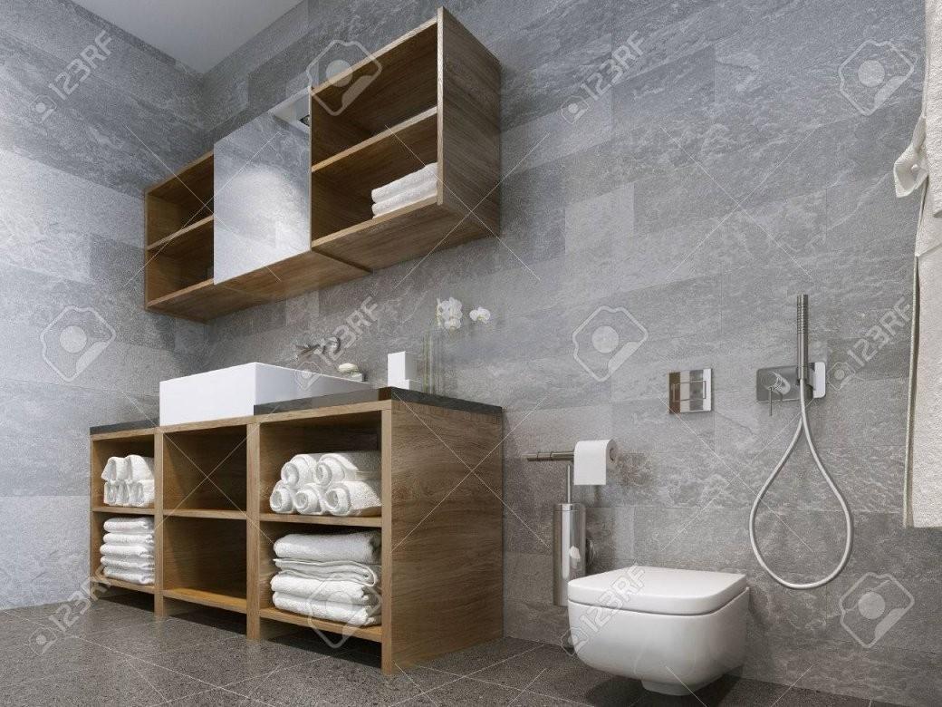 Badezimmer Modernen Stil Compromising Mit Holz Und Natursteinbad von Moderne Bäder Mit Holz Bild