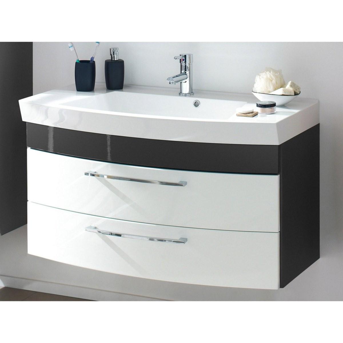 Badezimmer Waschtisch Mit Unterschrank Rimao100 Hochglanz Weiß Anthr von Waschbecken Mit Unterschrank 50 Cm Bild