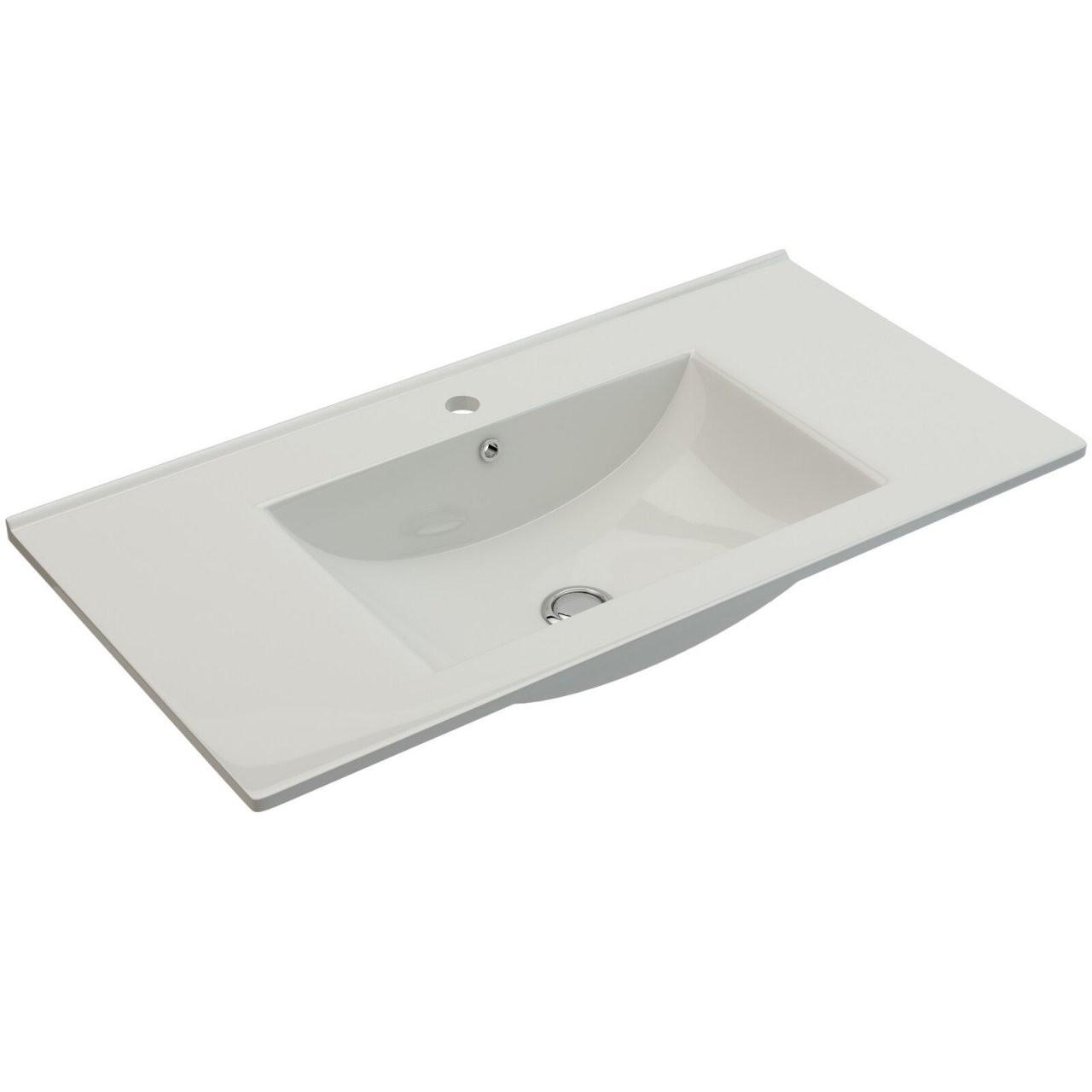 Badezimmermöbel Waschbecken Unterschrank 90Cm Waschtisch Beige von Waschbecken Beige Mit Unterschrank Photo