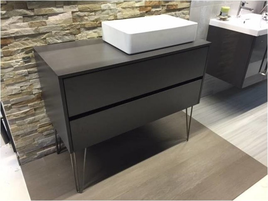 Badmöbel 1115 Cm Bodenstehend Industriedesign Mit Mineralguss Aufsa von Aufsatzwaschbecken Mit Unterschrank Stehend Photo