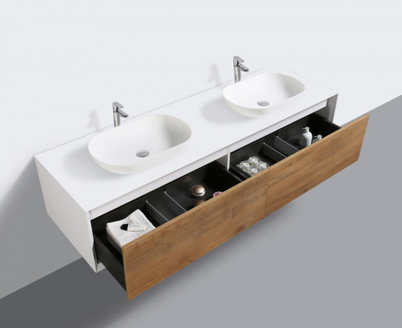 Badmöbel 180 Cm Eiche Led Spiegel Aufsatzwaschbecken Unterschrank von Waschbecken Aufsatz Mit Unterschrank Photo