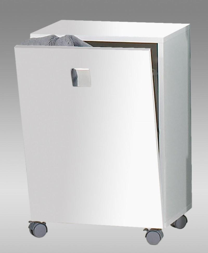 Badmöbel Bad Schrank Unterschrank Rolli Wäschekorb Metallgriffe Weiß von Badschrank Mit Integriertem Wäschekorb Photo