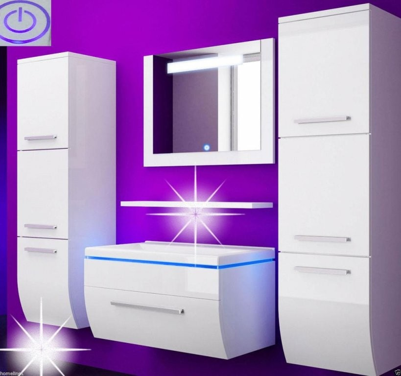 Badmöbel Set Weiss Hochglanz Badezimmermöbel 6T  Real von Badezimmer Komplett Günstig Kaufen Bild