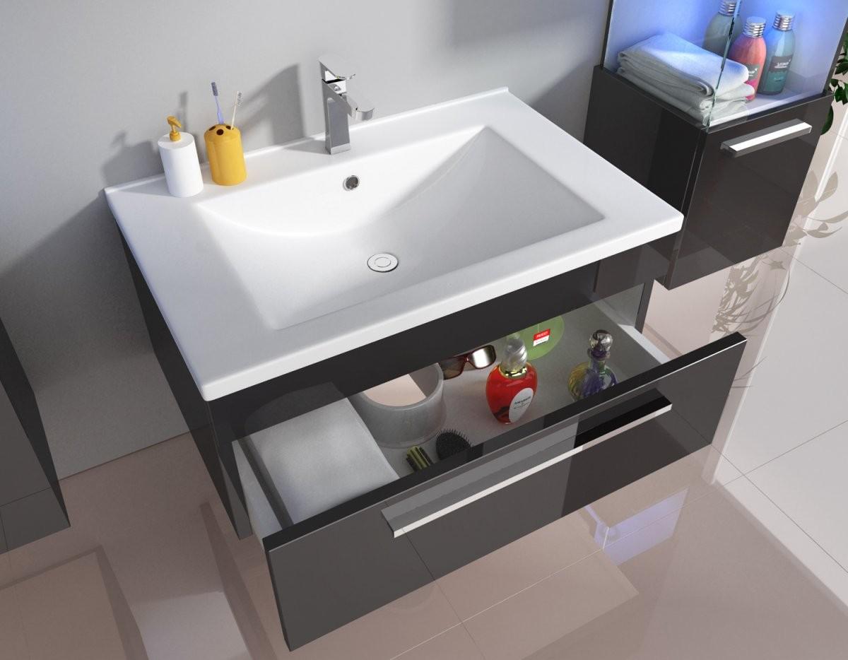 Badmöbelset Unterschrank Waschtisch Gästewc 70 Cm Weiß Schwarz Badmöbel von Wc Waschtische Mit Unterschrank Bild