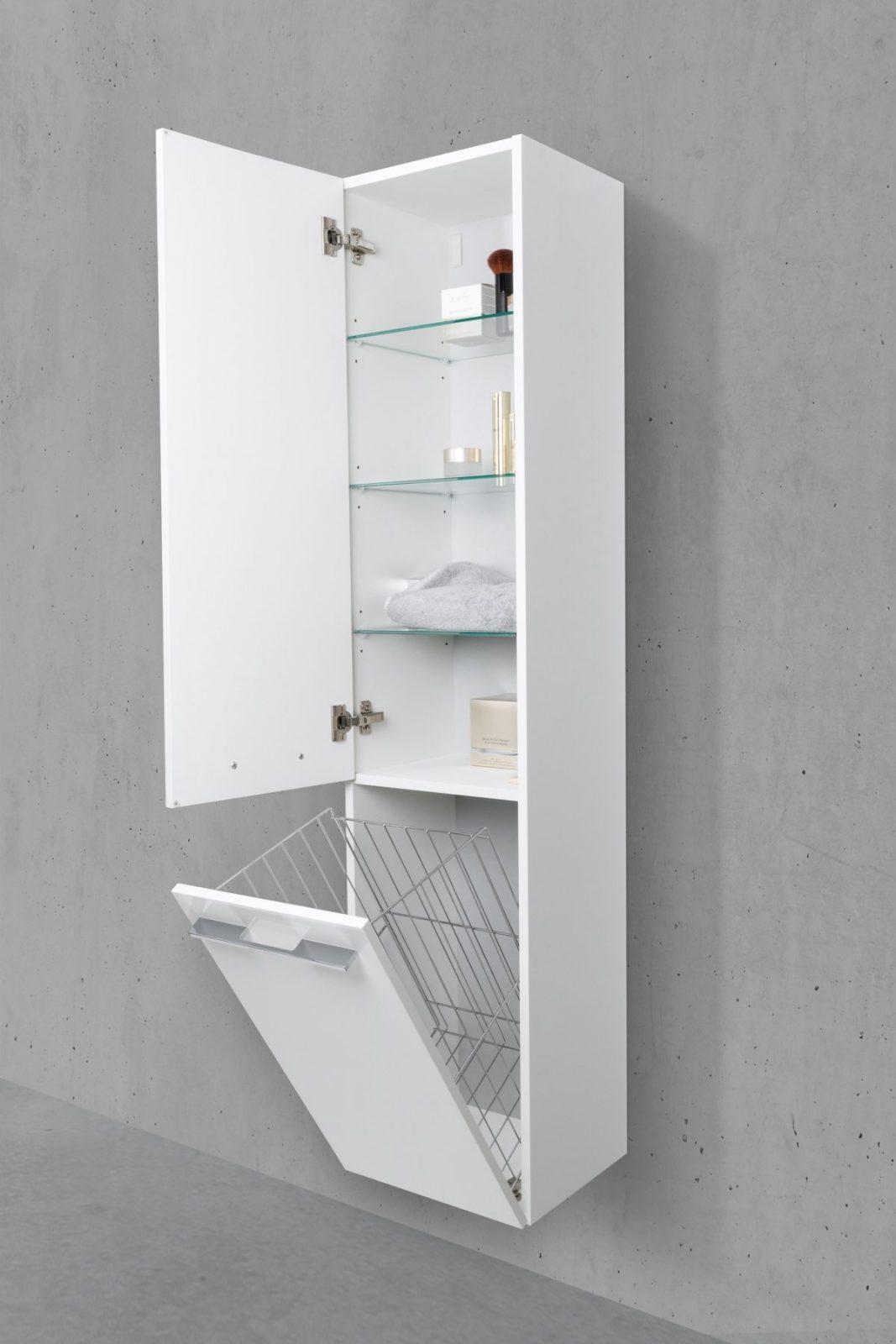 Badschrank Mit Wäschekippe Hochschrank Hbt 161640325Cm Weiß von Badschrank Mit Integriertem Wäschekorb Photo