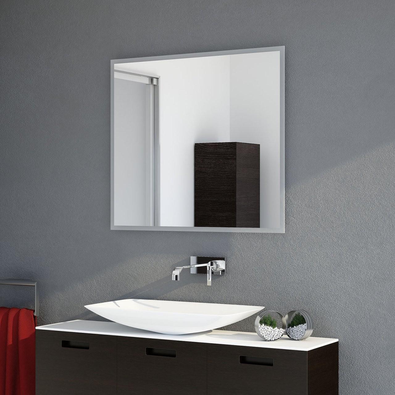 Badspiegel Frame Top Led  Satinierte Rand Mit Ambiente Licht von Led Spiegel Mit Steckdose Bild