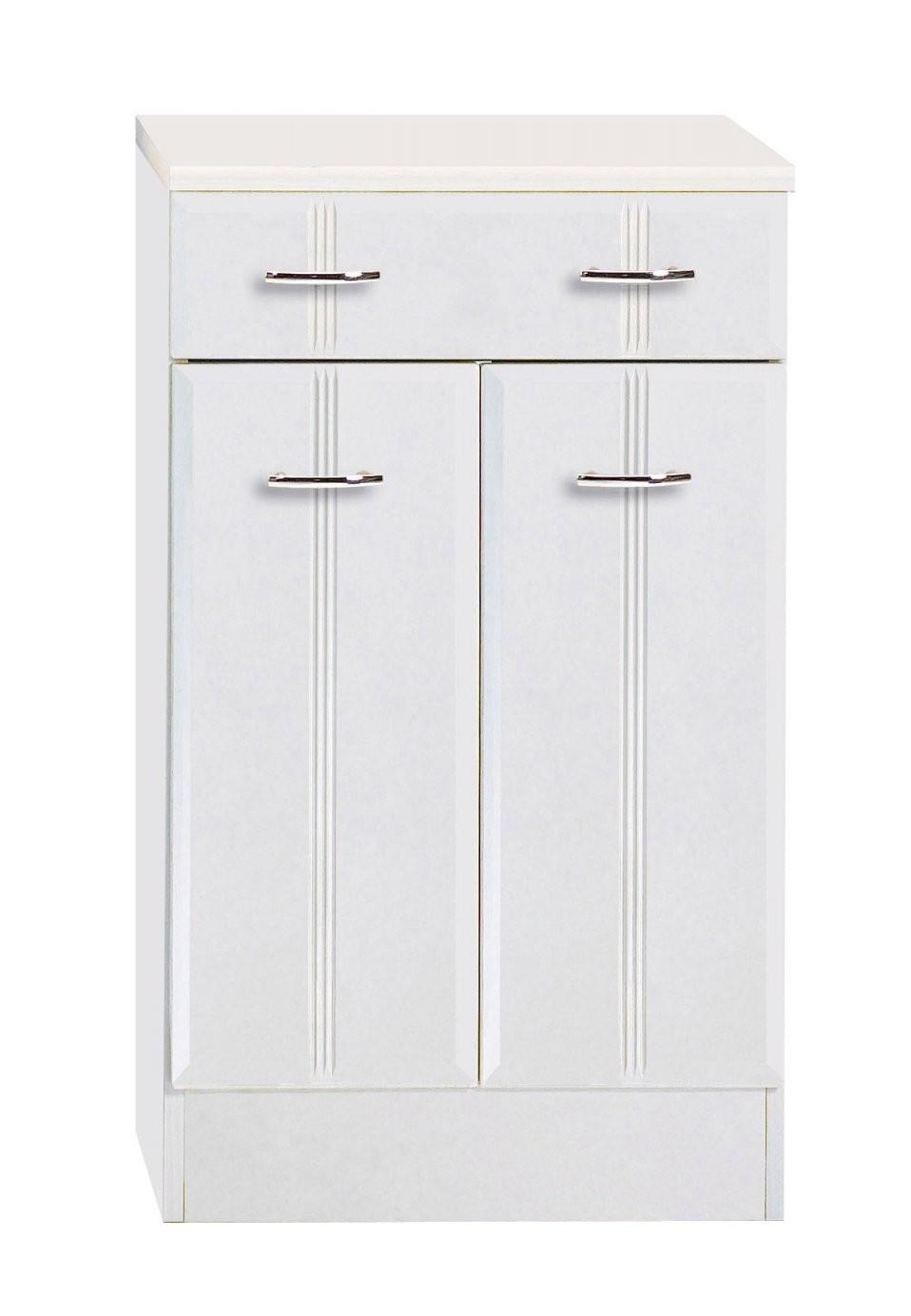 Badunterschrank Arta  2Türig 1 Schublade  50 Cm Breit  Weiß von Badezimmer Unterschrank 50 Cm Breit Photo