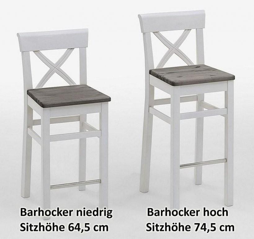 Barhocker 44X106X44Cm Kiefer Massiv 2Farbig Weiß Grau Lasiert von Barhocker Sitzhöhe 90 Cm Bild