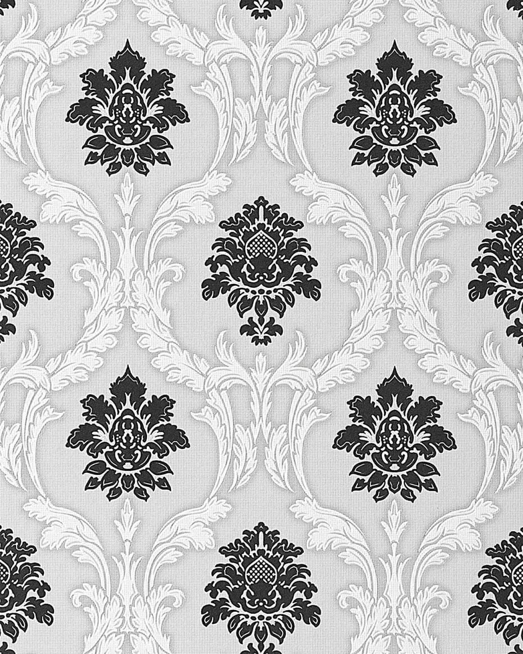 Barock Tapete Edem 05220 Tapete Damask Reliefornamente Flockoptik von Barock Tapete Schwarz Weiß Photo