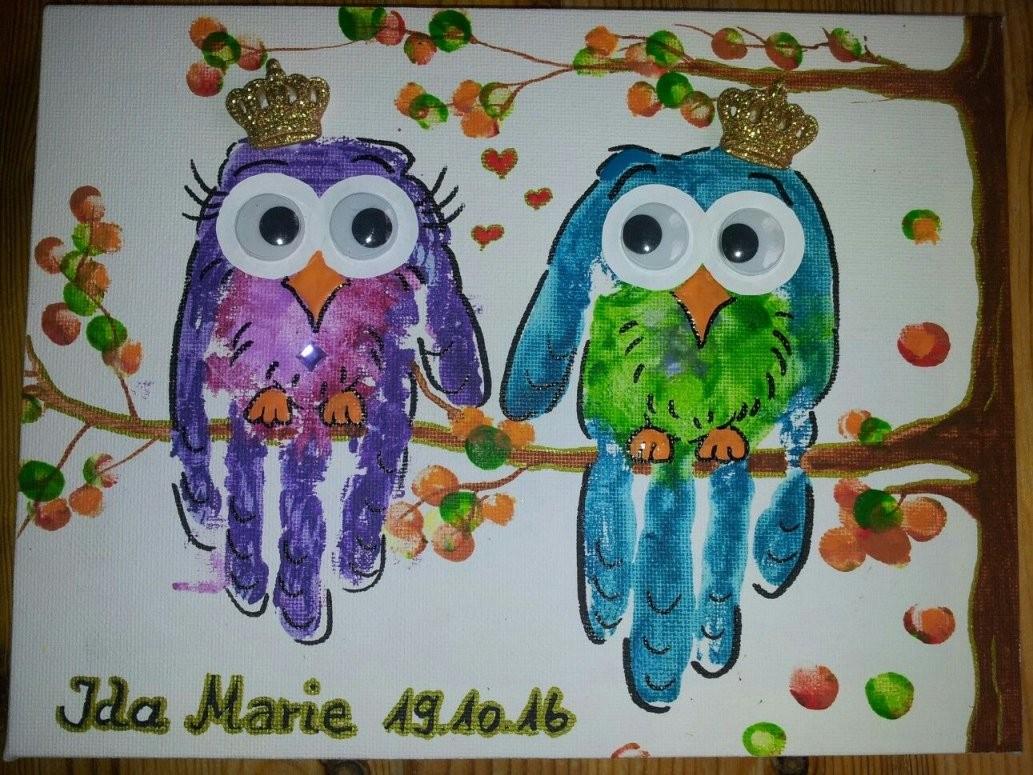 Basteln Mit Kindern Handabdruck Handprint Art Gonis Leinwand von Leinwand Gestalten Mit Kindern Bild