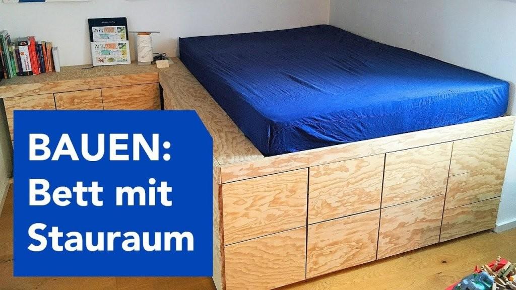 Bauen  Podestbett Mit Viel Stauraum  Youtube von Bett Bauen Mit Stauraum Bild