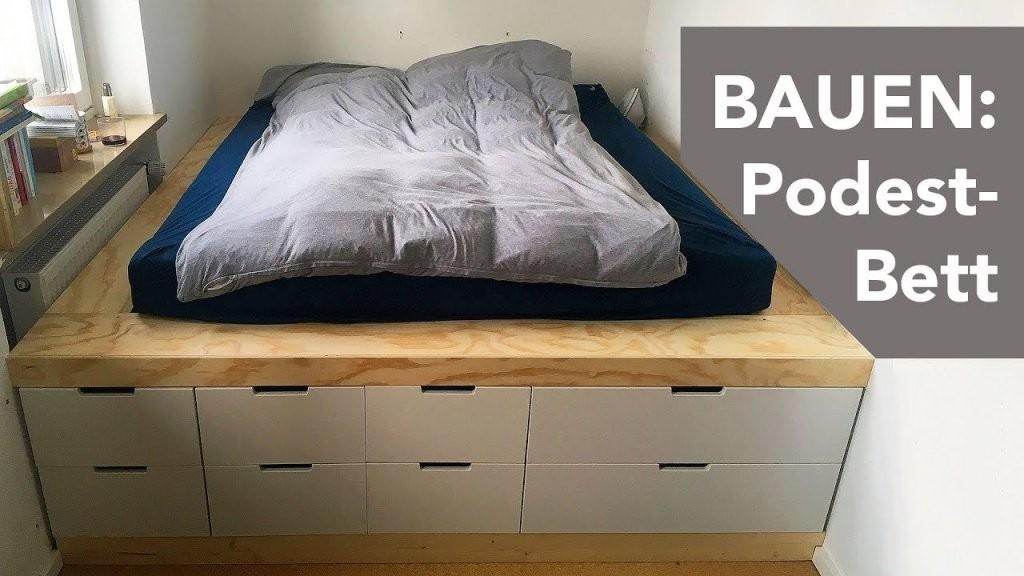 Bauen Podestbett  Youtube von Podest Bett Aus Paletten Bild