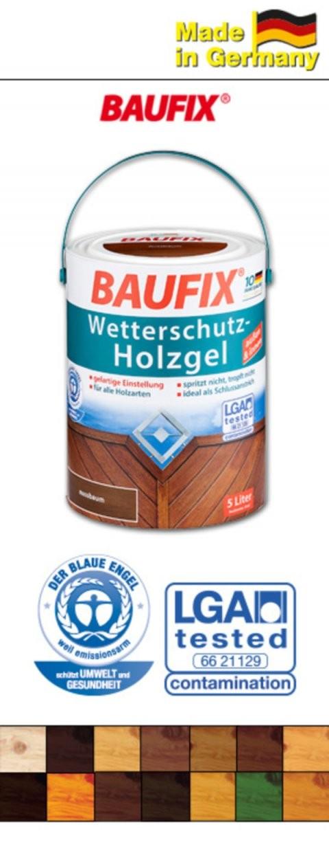 Baufix Wetterschutzholzgel 5 Liter Von Norma Ansehen  Discounto von Baufix Wetterschutz Holzgel Palisander Bild