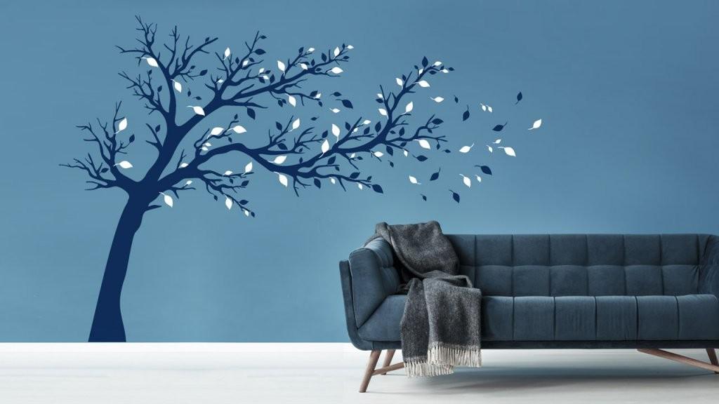 Bäume An Der Wand  Dekoration Mit Wandtattoos  Dekoration von Wandtattoo Baum Im Wind Photo