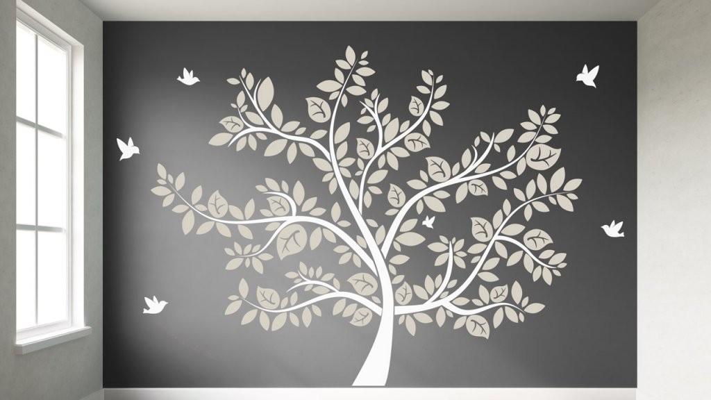 Bäume An Der Wand  Dekoration Mit Wandtattoos  Dekoration von Wandtattoo Baum Kinderzimmer Xxl Bild