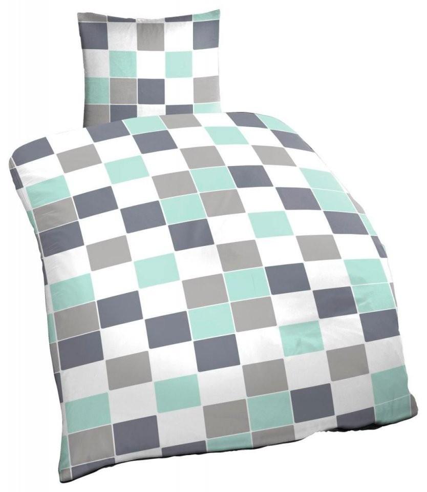Baumwoll Seersucker Bettwäsche Karo Mint Weiß Grau 155 X 220 Cm von Bettwäsche Sterne Grau 155X220 Bild