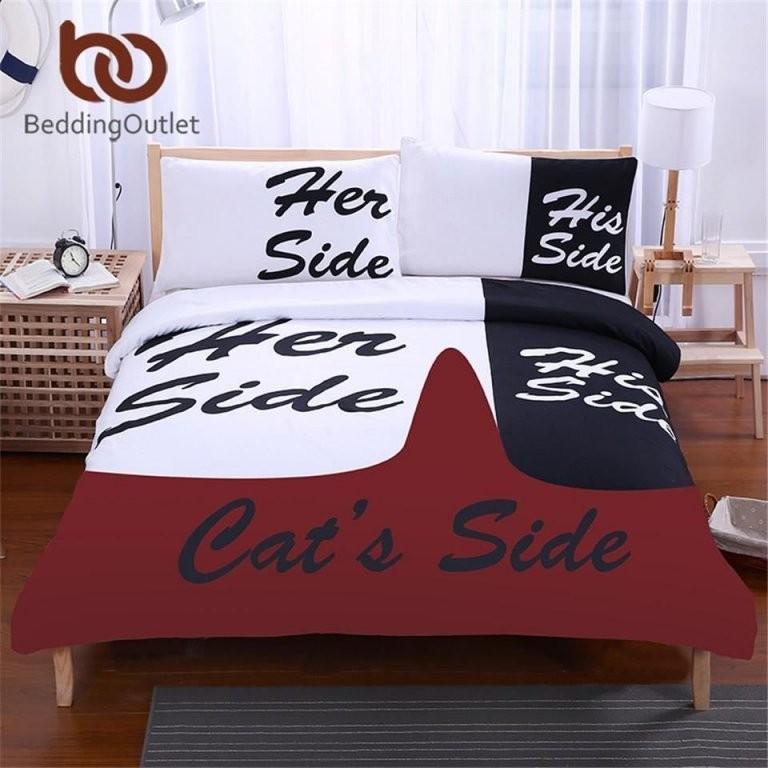 Beddingoutlet Schwarz Und Weiß Bettwäsche Set Seiner Seite  Ihr von Bettwäsche His Side Her Side Photo